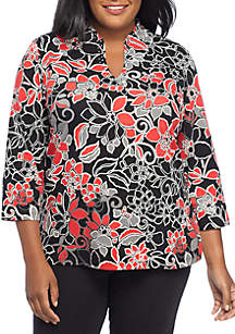 Plus Size Must Haves II Floral Knit Top