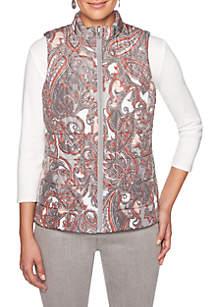 Petite Must Haves Paisley Printed Reversible Vest