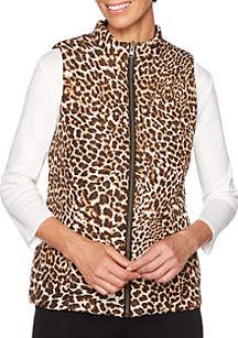 Must Haves Petite Animal Printed Reverse Vest