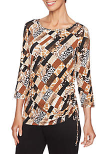 Petite Must Haves II Patchwork Knit Top with Side Ruching