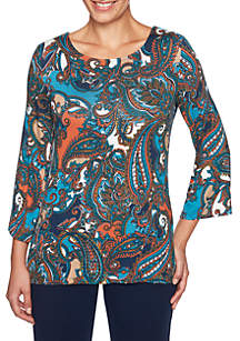 Must Haves II Petite Paisley Knit Top