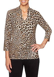 Petite Must Haves Animal Skin Printed Knit Top