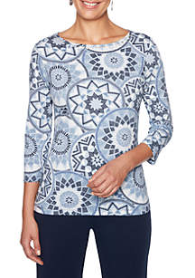 Petite Must Haves Medallion Knit Top
