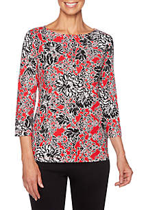 Petite Must Haves Scroll Printed Boat Neck Top