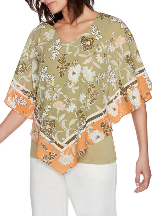 Ruby Rd Womens Gypsy Spirit Floral Print Top