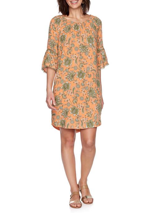 Womens Gypsy Spirit Floral Vine Print Silky Dress