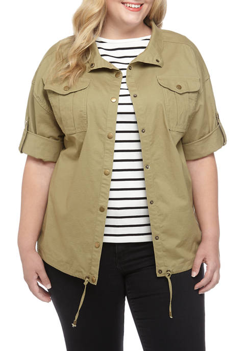 Plus Size Gypsy Spirit Roll Tab Snap Front Ripstop Jacket