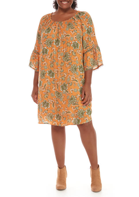Plus Size Gypsy Spirit 3/4 Flounce Sleeve Floral Vines Fuji Dress