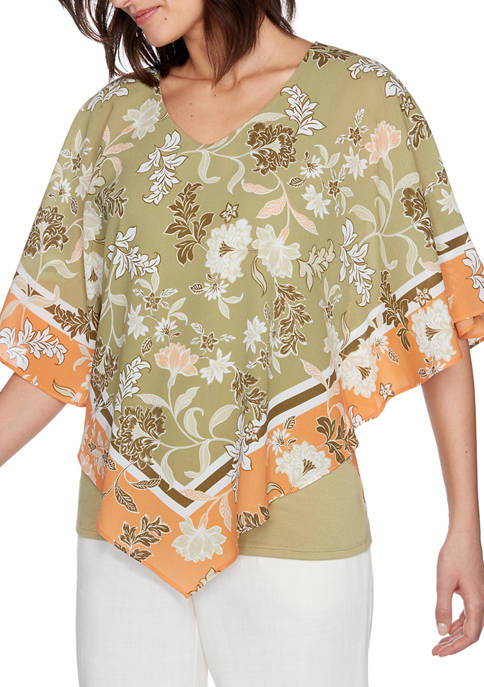 Ruby Rd Petite V-Neck Floral Placement Butterfly Top