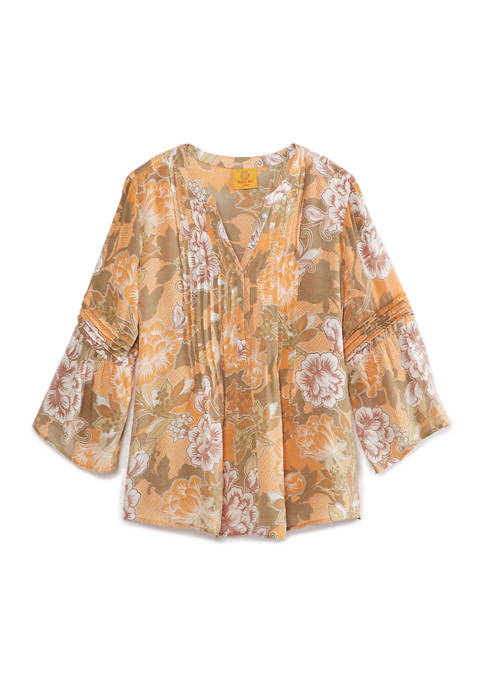 Ruby Rd Petite Gypsy Spirit Stand Collar Floral