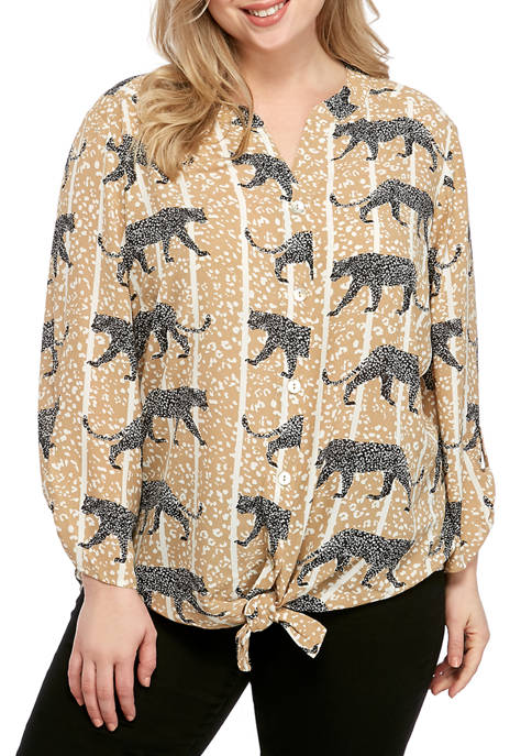Plus Size Collar Waltzing Cheetah Tie Front Top