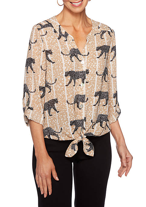 Ruby Rd Petite Animal Instinct Button Front Collar