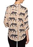 Petite Animal Instinct Button Front Collar Waltzing Cheetah Tie Front Top