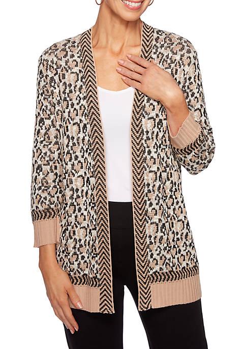 Ruby Rd Petite Animal Instinct Textured Leopard Jacquard