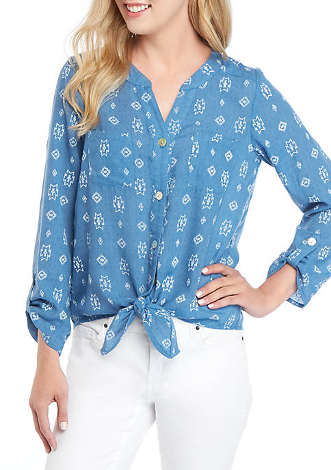 Printed Tie Front Tencel Shirt