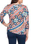 Go West Embellished Side Ruched Ikat Knit Top