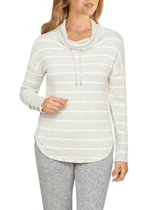 Ruby Rd Womens Heather Striped Hacci Cowl Neck