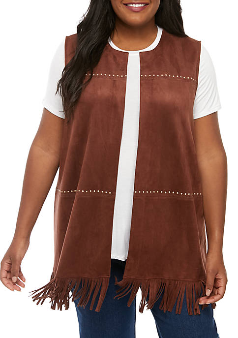 Ruby Rd Plus Size Faux Suede Vest with