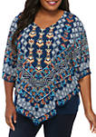 Plus Size Tribal Print Butterfly Top