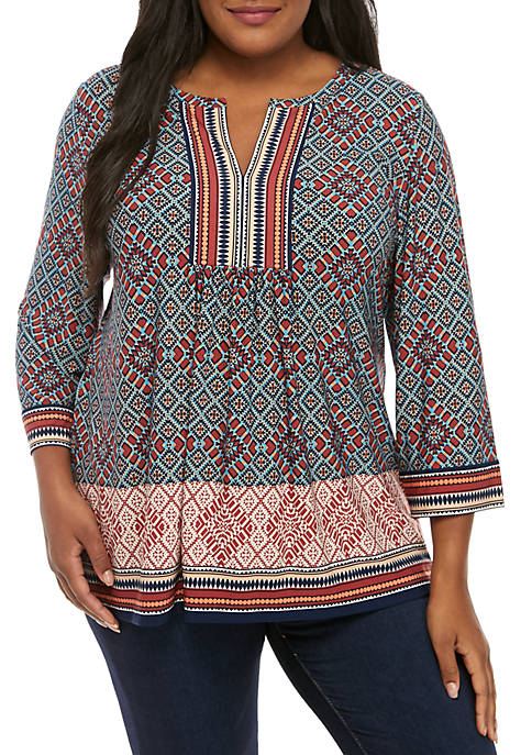 Plus Size Tapestry Border Print Knit Top