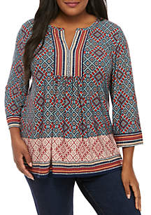 Ruby Rd Plus Size Tapestry Border Print Knit Top