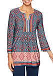 Petite Go West Tapestry Border Print Knit Top