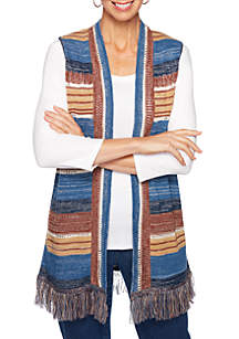 Ruby Rd Petite Go West Marl Stripe Sweater Vest with Fringe