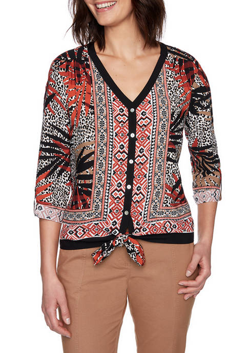 Womens On Safari 2020 Sahara Palm Tie Front Woven Top