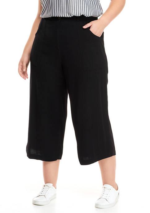 Plus Size On Safari Linen Slub Wide Leg Pants