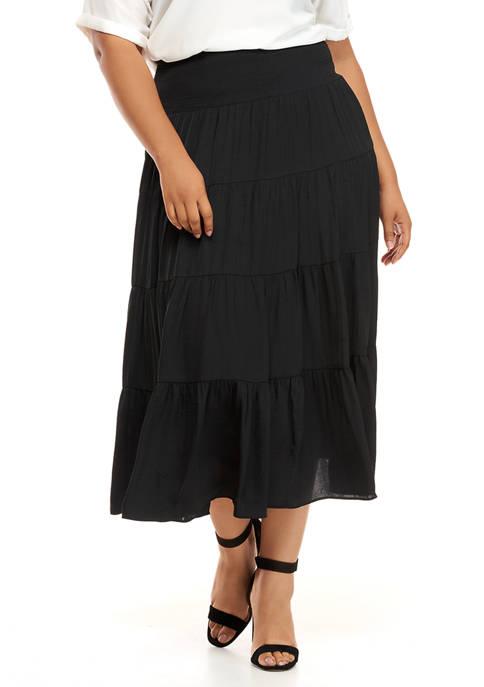 Plus Size On Safari Charmeuse Tiered Smock Waist Skirt