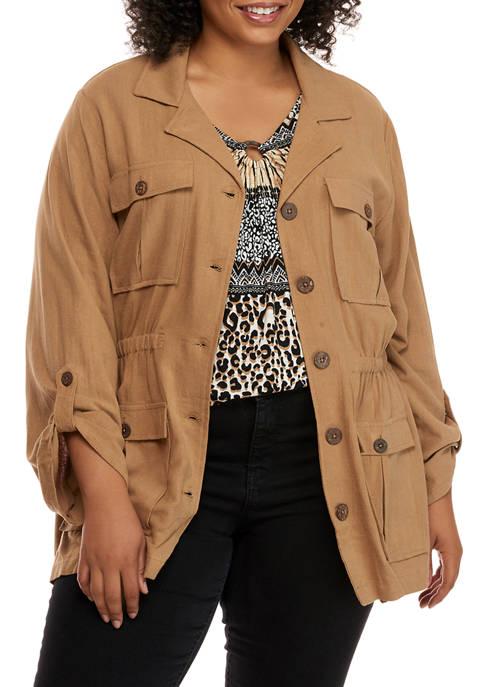 Plus Size On Safari Roll Tab Sleeve Linen Slub Jacket