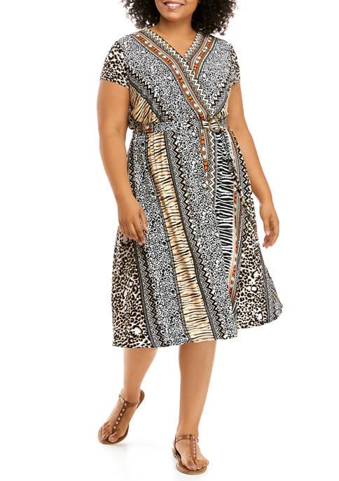 Plus Size On Safari Cap Sleeve Mixed Animal Stripe Belted Dress
