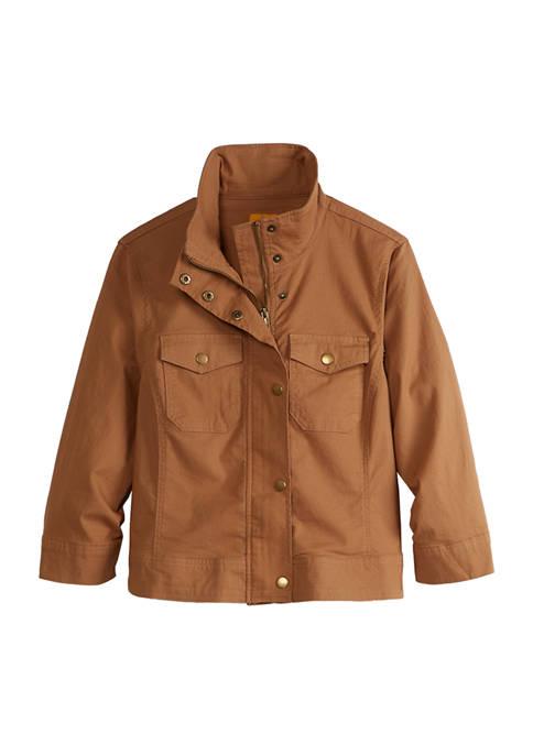 Petite On Safari Zip Front Collar Ripstop Jacket