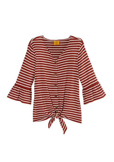 Petite On Safari Stripe Tie Front Double Knit Top
