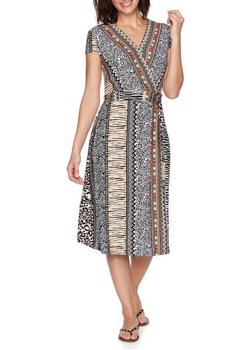 Petite Mixed Animal and Stripe Wrap Dress
