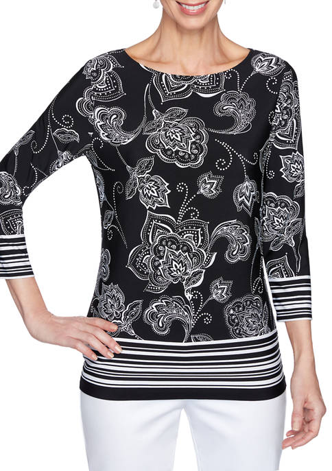Ruby Rd Womens Must Haves Paisley Puff Border