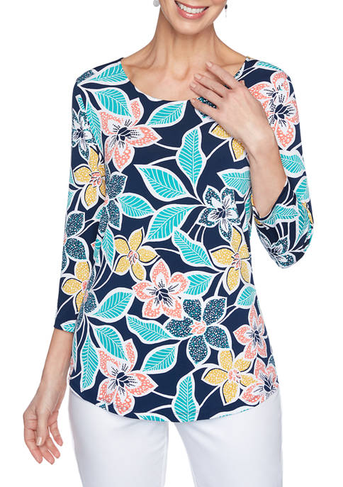 Ruby Rd Petite Puff Print Floral Top