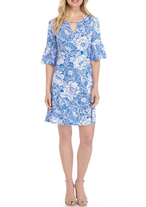 Ruby Rd Womens Puff Print Bell Sleeve Dress