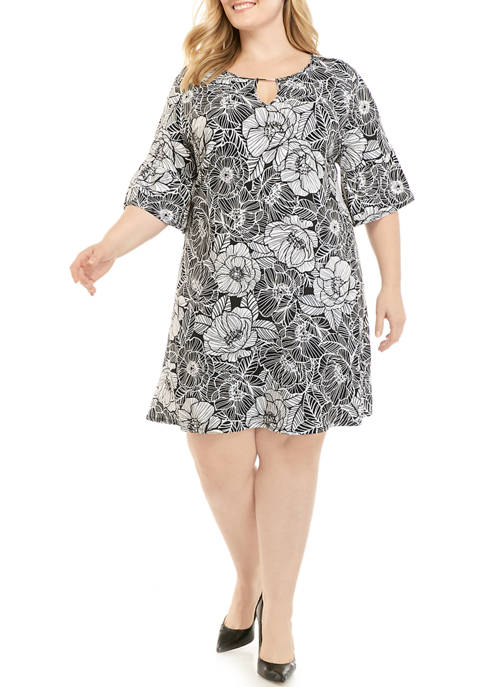 Ruby Rd Plus Size 3/4 Sleeve Printed Knit