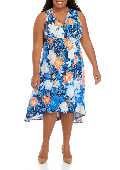 Ruby Rd Plus Size Sleeveless High Low Puff