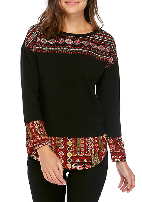 Embroidered Front Woven Hem Top