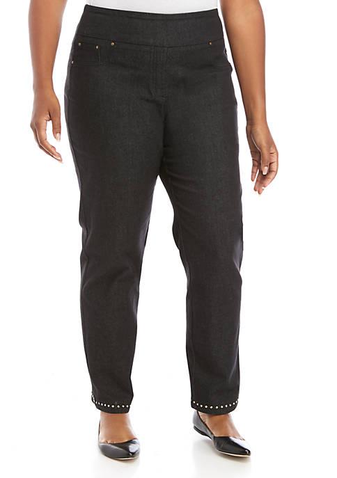 Plus Size Globe Trotter Stretch Denim Jeans with Embellished Hems
