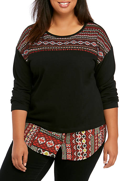 Ruby Rd Plus Size Globetrotter Tribal Textured Patch