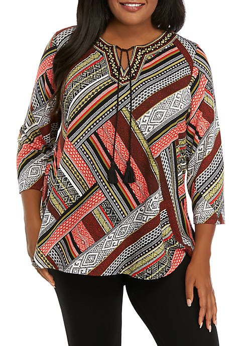 Ruby Rd Plus Size Globetrotter Embroidered Patchwork Hacci