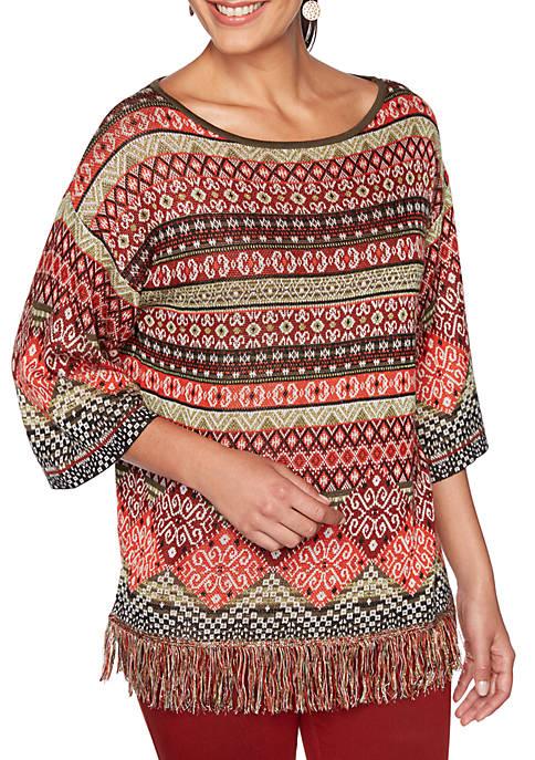 Petite Globetrotter Patchwork Fringe Sweater