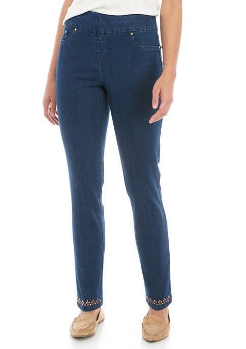 Womens Embellished Denim Pants