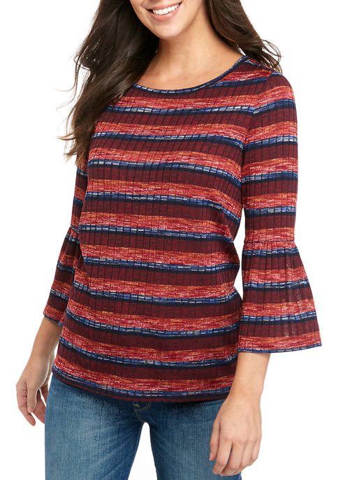 Womens Bell Sleeve Striped Top