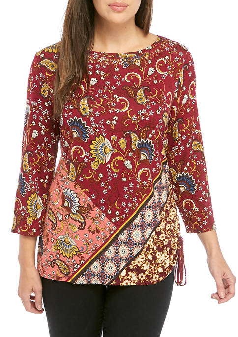 Womens Side Ruch Patchwork Knit Top