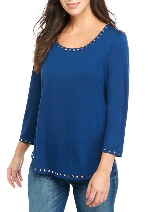 Ruby Rd Womens Embellished Detail 3/4 Sleeve Solid
