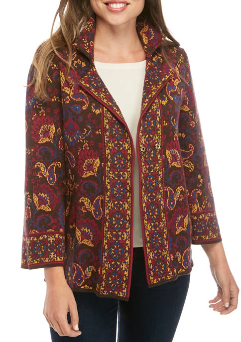 Womens Jacquard Sweater Blazer